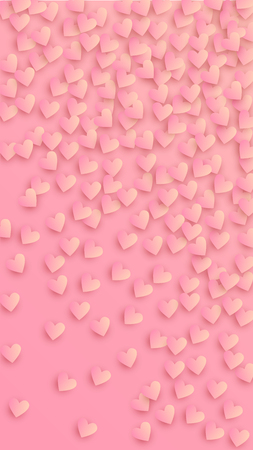 Lovely Pink Hearts Falling on Pink Background. Illustration with Pink Hearts for your Design. Wedding Background for Greeting Card, Invitation or Banner. Vector illustration