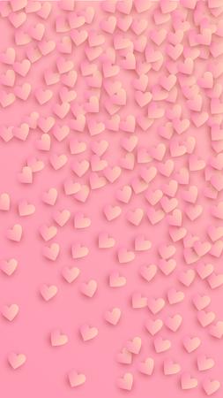 Reizende rosa Herzen, die auf rosa Hintergrund fallen. Illustration mit rosa Herzen für Ihr Design. Hochzeitshintergrund für Grußkarten, Einladungen oder Banner. Vektor-Illustration
