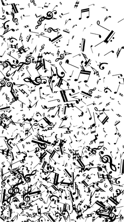 Musical Notes on White Background.  Vertical Orientation. Many Random Falling Bass, Treble Clef and Notes. Vector Musical Symbols.  Jazz Background. Abstract White and Black Vector Background.