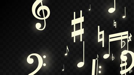 Wonder muzieknoten op zwarte achtergrond. Vector lichtgevende muzikale symbolen. Veel willekeurige vallende noten, bas en g-sleutel. Magische Jazz achtergrond. Abstracte zwart-wit vectorillustratie.