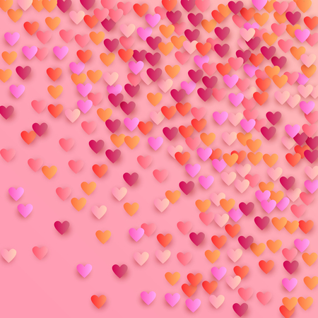 Czerwone serca spadające na białym tle. Ilustracja z czerwonymi sercami do projektowania. Wesele tło dla karty z pozdrowieniami, zaproszenia lub baneru. Ilustracji wektorowych.