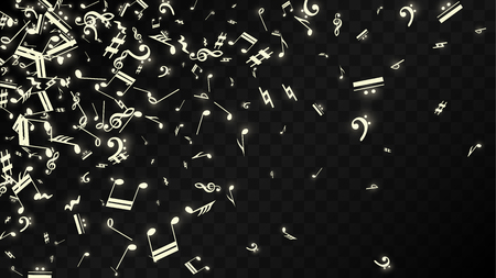 Miracle Musical Notes on Black Background. Vector Luminous Musical Symbols.   Many Random Falling Notes, Bass and Treble Clef.  Magic Jazz Background.  Abstract Black and White Vector Illustration.