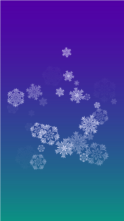 Vector Falling Snowflakes on a Blue Background