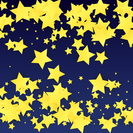 Golden Stars Background. Beautiful Golden Stars Confetti on Blue Background