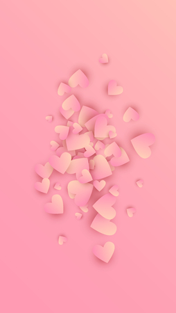 Pink Hearts Falling on Pink Background. Illustration with Pink Hearts for your Design.    Valentines Background for Greeting Card, Invitation, Banner, Wallpaper, Flyer.  Vector illustration