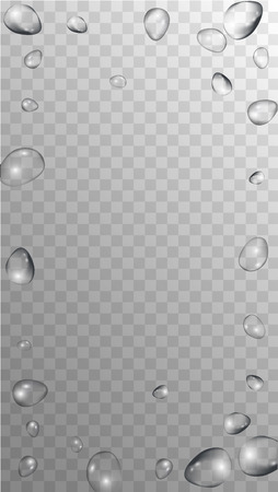 Rain Drops on Transparent Background. Cool Water Drops for Your Design. Condensation on Glass with many Fresh Droplet. Background for Cosmetic  Vector illustration.