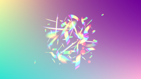 Holographic Light Glitch Effect. Iridescent Background.  Vector Rainbow Gradient with Sunshine Glare.  Creative Festive Backdrop.  Mesh Holographic Foil. Trendy Hologram Vector Background.