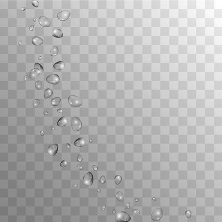 Krople deszczu na przezroczystym tle. Realistyczne krople wody do Twojego projektu. Kondensacja na szkle z dużą ilością Clean Droplet. Kropla Rosy Tło. Ilustracja wektorowa. Ilustracje wektorowe