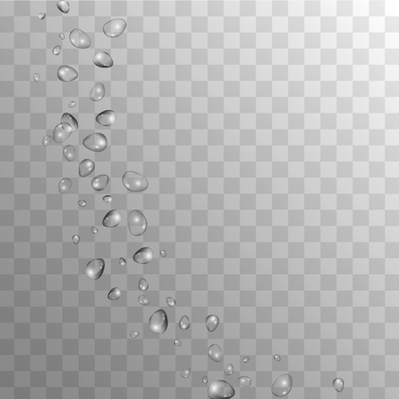 Rain Drops on Transparent Background. Realistic Water Drops for Your Design. Condensation on Glass with many Clean Droplet. Dew Drop Background. Vector illustration. Ilustração