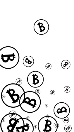 Randomly Fall Bitcoins. Bitcoin Icon Abstract Background. Cryptocurrency Background. Digital Payment money.  Jackpot or Prize Concept.  Black and White Vector Illustration. Blockchain technology Coin.