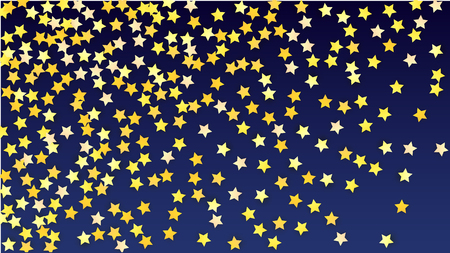 Many Random Falling Yellow Stars Confetti on Blue Background. Invitation Design.   Banner, Greeting Card, Christmas card, Postcard, Packaging, Textile Print. Beautiful Night Sky.