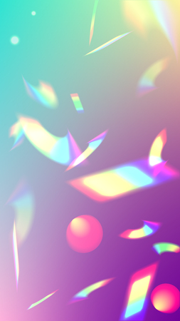 Iridescent Background. Holographic Light Glitch Effect. Vector Rainbow Gradient with Sunshine Glare.  Creative Festive Backdrop.  Mesh Holographic Foil. Trendy Hologram Vector Background. Vettoriali