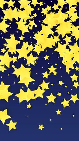 Golden Stars Confetti. Invitation Background. Banner, Greeting Card, Christmas and New Year card, Postcard, Packaging, Textile Print. Beautiful Night Sky