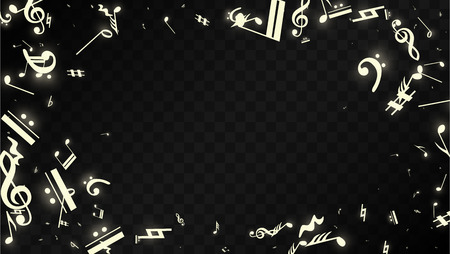 Magic Musical Notes on Black Background. Vector Luminous Musical Symbols.   Many Random Falling Notes, Bass and Treble Clef.  Magic Jazz Background.  Abstract Black and White Vector Illustration.