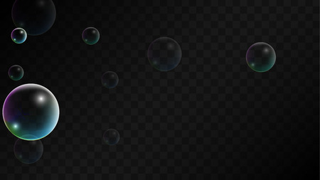 Soap bubbles with Rainbow Reflection. Set of Realistic Water or Soap Bubbles for Your Design. Shampoo or Foam Cosmetic Flyer and Invite. Bubble with Hologram Reflection. Isolated Vector Illustration.