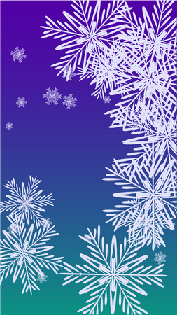 Snowflakes Christmas Background. Element of Design with Snow for a Postcard, Invitation Card, Banner, Flyer. Vector Falling Snowflakes on a Blue Background Vektorgrafik