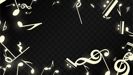 Magic Musical Notes on Black Background. Vector Luminous Musical Symbols.   Many Random Falling Notes, Bass and Treble Clef.  Jazz Background.  Abstract Black and White Vector Illustration.