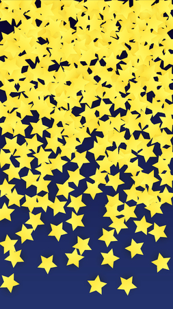 Many Random Falling Golden Stars Confetti. Invitation Background. Banner, Greeting Card, Christmas and New Year card, Postcard, Packaging, Textile Print. Beautiful Night Sky  Illustration