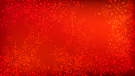Snowflakes Red Christmas Background. Vector Falling Snowflakes on a Red Background. Element of Design with Snow for a Postcard, Invitation Card, Banner, Flyer. Ilustração