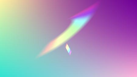 Vector Rainbow Gradient with Sunshine Glare.  Iridescent Background. Holographic Light Glitch Effect.    Trendy Hologram Vector Background. Mesh Holographic Foil. Creative Festive Backdrop.