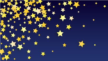 Sfondo astratto con molti coriandoli di stelle gialle cadenti casuali. Sfondo di invito. Banner, biglietto di auguri, cartolina di Natale, cartolina, imballaggio, stampa tessile. Bellissimo cielo notturno