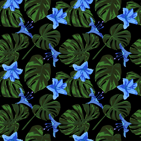 Tropical Print. Jungle Seamless Pattern. Vector Tropic Summer Motif with Hawaiian Flowers. Swimwear Design. Summer Hawaiian Pattern.  Aloha Fabric Repeated Print.
