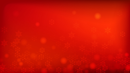 Beautiful Red Christmas Background with Falling Snowflakes. Element of Design with Snow for a Postcard, Invitation Card, Banner, Flyer. Vector Falling Snowflakes on a Red Background. Illustration