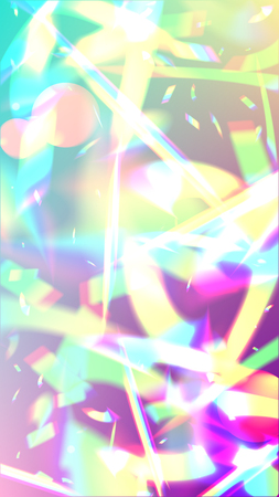 Holographic Light Glitch Effect. Iridescent Background.  Vector Rainbow Gradient with Sunshine Glare.    Trendy Hologram Vector Background. Mesh Holographic Foil. Creative Festive Backdrop. 일러스트