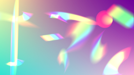 Holographic Light Glitch Effect. Iridescent Background.  Vector Rainbow Gradient with Sunshine Glare.    Trendy Hologram Vector Background. Mesh Holographic Foil. Creative Festive Backdrop. Ilustração