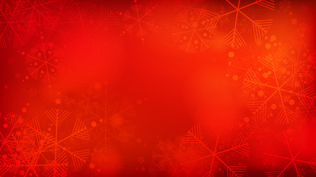 Schöner roter Weihnachtshintergrund mit fallenden Schneeflocken. Element des Designs mit Schnee für eine Postkarte, Einladungskarte, Banner, Flyer. Fallende Schneeflocken des Vektors auf einem roten Winterhintergrund.