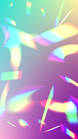 Iridescent Background. Holographic Light Glitch Effect. Vector Rainbow Gradient with Sunshine Glare.   Mesh Holographic Foil. Trendy Hologram Vector Background. Creative Festive Backdrop.