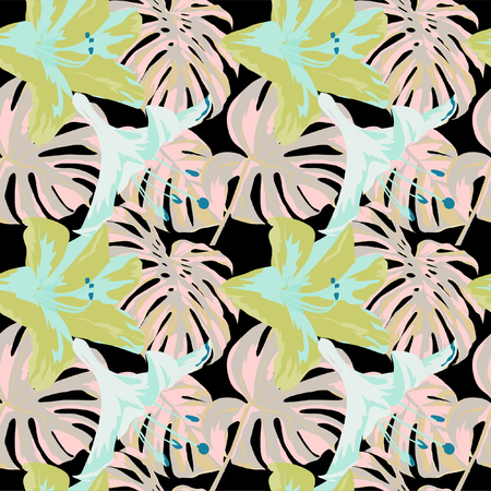 Tropical Print. Jungle Seamless Pattern. Vector Tropic Summer Motif with Hawaiian Flowers. Swimwear Design. Summer Hawaiian Pattern.  Aloha Fabric Repeated Print.