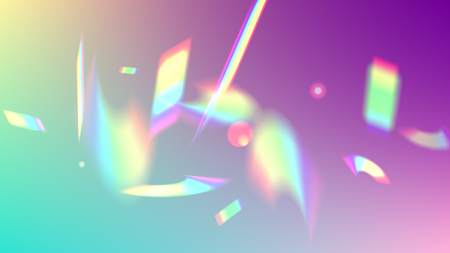 Holographic Light Glitch Effect. Iridescent Background. Vector Rainbow Gradient with Sunshine Glare. Trendy Hologram Vector Background. Mesh Holographic Foil. Creative Festive Backdrop.