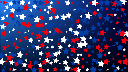 Colours of American Flag. USA Independence Day.  . Abstract Background with Many Random Falling Stars Confetti on Blue Background.