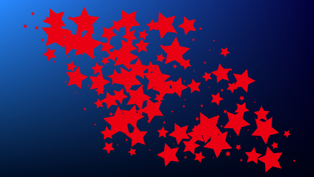 USA Independence Day. Colours of American Flag. . Abstract Background with Many Random Falling Stars Confetti on Blue Background.