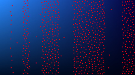 USA Independence Day. Colors of American Flag. Red, Blue and White Stars on Blue Gradient Background. Abstract Background with Many Random Falling Stars Confetti on Blue Background. Vettoriali