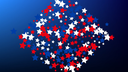 Colours of American Flag. USA Independence Day.  Red, Blue and White Stars on Blue Gradient Background. Invitation Background. Banner, Christmas and New Year card, Postcard, Packaging, Textile Print.