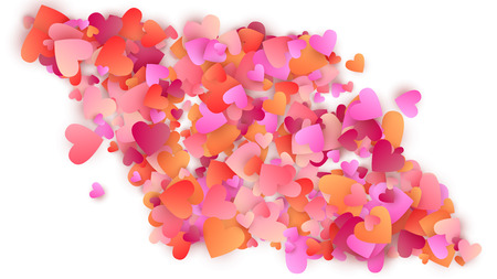 Red Hearts Falling on White Background. Illustration with Red Hearts for your Design. Valentines Background for Greeting Card, Invitation, Banner, Wallpaper, Flyer Vector illustration.