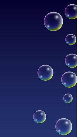 Bubble with Hologram Reflection. Set of Realistic Water or Soap Bubbles for Your Design. Soap Bubbles with Rainbow Reflection.Shampoo or Foam Cosmetic Flyer and Invite.  Isolated Vector Illustration.