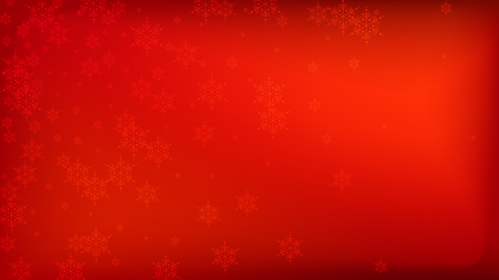 Beautiful Red Christmas Background with Falling Snowflakes. Vector Falling Snowflakes on a Red Background. Element of Design with Snow for a Postcard, Invitation Card, Banner, Flyer.