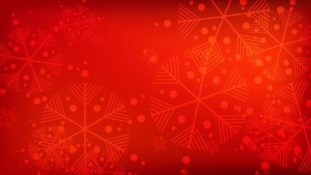 Schöner roter Weihnachtshintergrund mit fallenden Schneeflocken. Fallende Schneeflocken des Vektors auf einem roten Hintergrund. Element des Designs mit Schnee für eine Postkarte, Einladungskarte, Banner, Flyer.