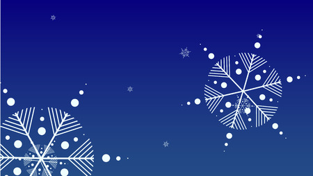Falling Snowflakes on Christmas Background.  Element of Design with Snow for a Postcard, Invitation Card, Banner, Flyer.  Vector Falling Snowflakes on a Blue Winter Background