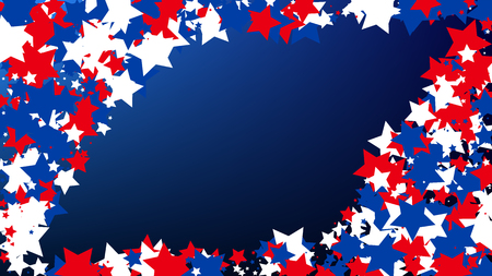USA Independence Day. Colors of American Flag. Red, Blue and White Stars on Blue Gradient Background. Abstract Background with Many Random Falling Stars Confetti on Blue Background. Illustration