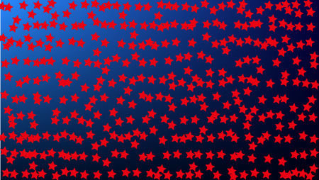 USA Independence Day. Colors of American Flag. Red, Blue and White Stars on Blue Gradient Background. Abstract Background with Many Random Falling Stars Confetti on Blue Background. 矢量图像