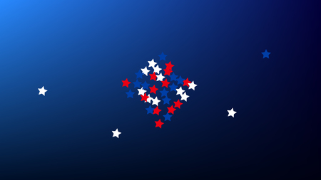 Colors of American Flag. USA Independence Day.  Red, Blue and White Stars on Blue Gradient Background. Abstract Background with Many Random Falling Stars Confetti on Blue Background.