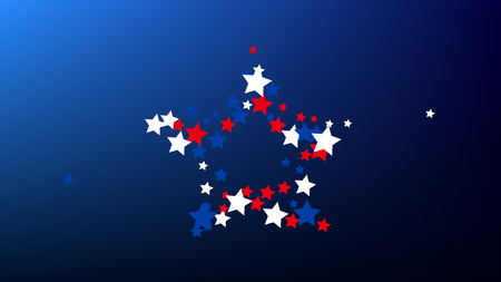 Colours of American Flag. USA Independence Day. Red, Blue and White Stars on Blue Gradient Background. Abstract Background with Many Random Falling Stars Confetti on Blue Background.