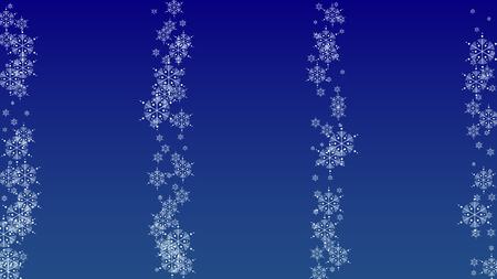 Falling Snowflakes on a Blue Background. Element of Design with Snow for a Postcard, Invitation Card, Banner, Flyer.  Vector Çizim