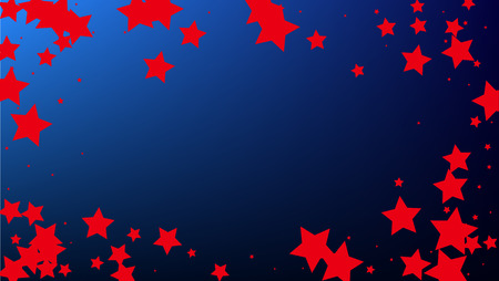 Colors of American Flag. USA Independence Day.  . Abstract Background with Many Random Falling Stars Confetti on Blue Background.