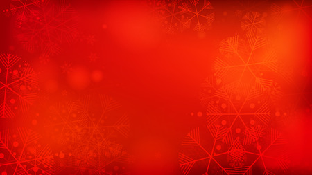 Beautiful Red Christmas Background with Falling Snowflakes. Element of Design with Snow for a Postcard, Invitation Card, Banner, Flyer. Vector Falling Snowflakes on a Red Background.   向量圖像