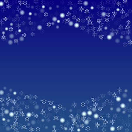 Beautiful Christmas Background with Falling Snowflakes.  Element of Design with Snow for a Postcard, Invitation Card, Banner, Flyer.  Vector Falling Snowflakes on a Blue Winter Background Çizim